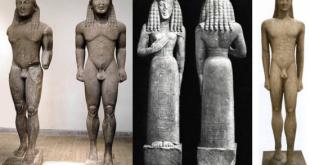Dama di Auxerre e Kouros di Milo a confronto