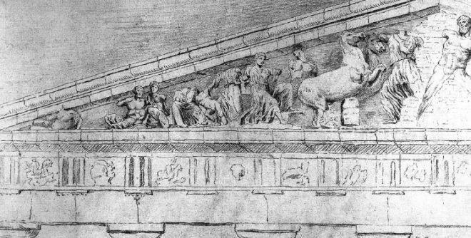 Disegno frontone Partenone